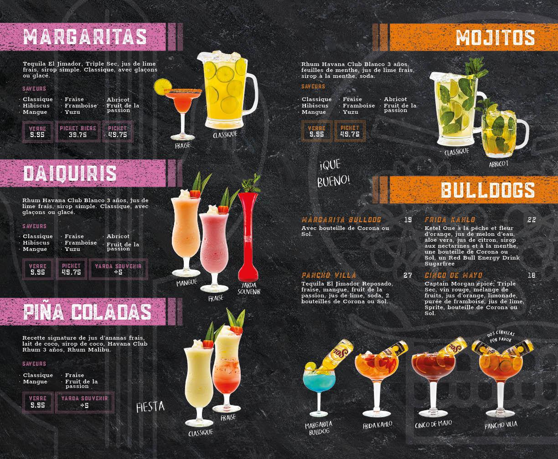 Menu des Cocktails classiques et Bulldogs