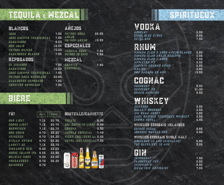 Menu des tequilas, bières et spiritueux