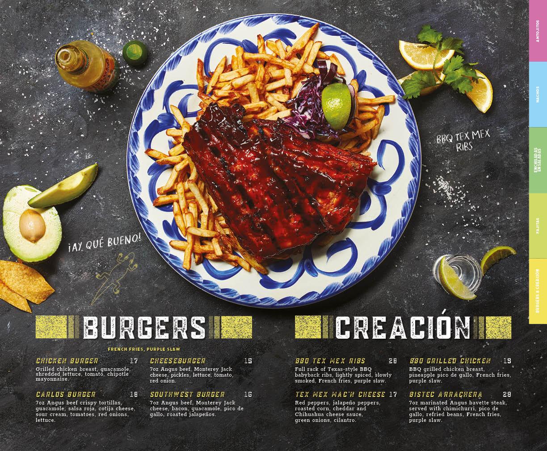 Burgers and Creacion menu