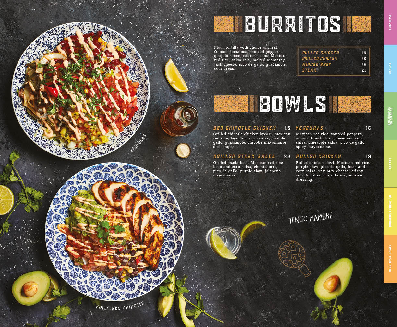 Burritos menu