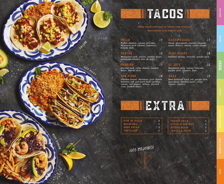 Tacos menu