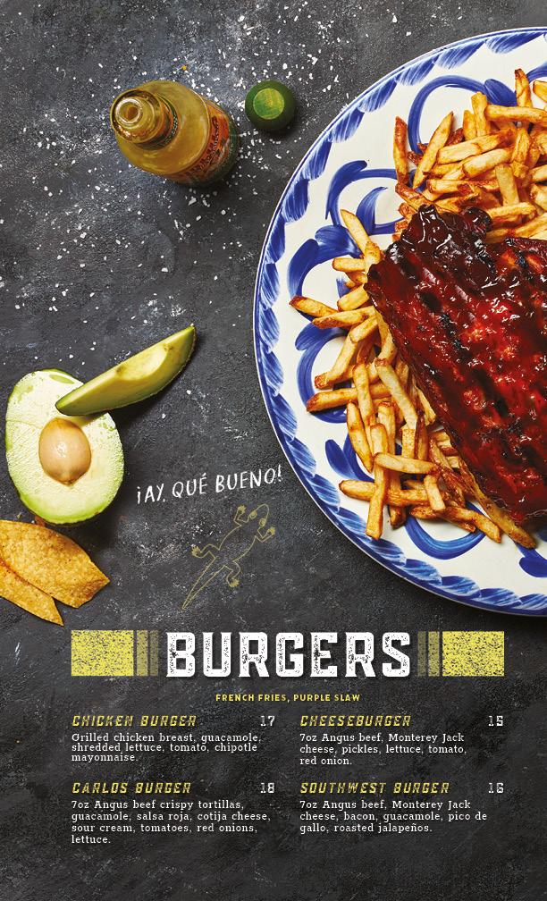 burgers menu