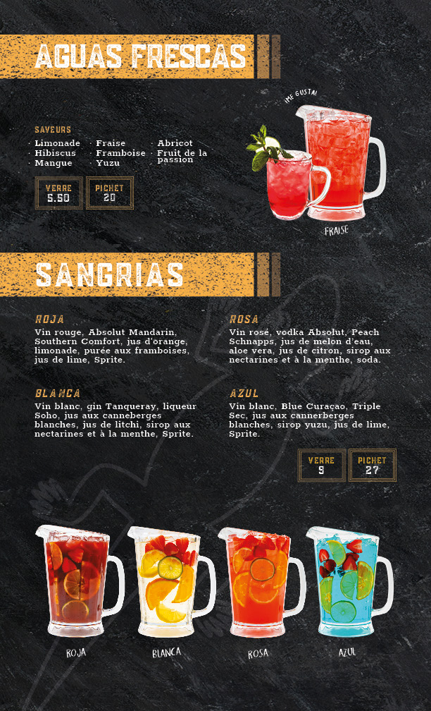 menu agua frescas et sangrias