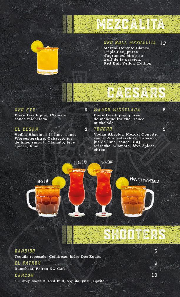 menu caesars et shooters