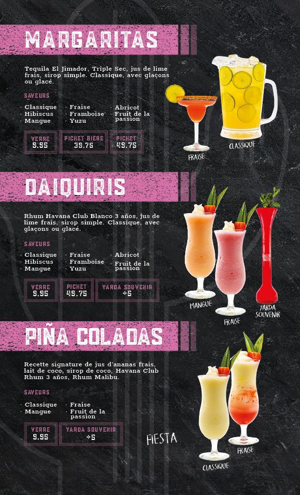 menu margaritas, daiquiris and pina coladas