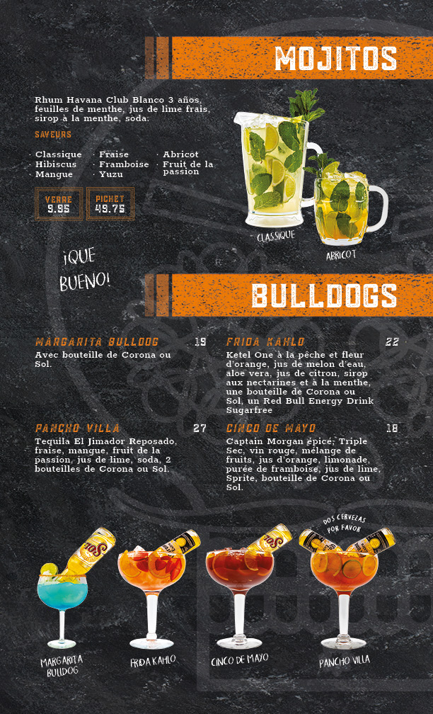 menu mojitos et bulldogs