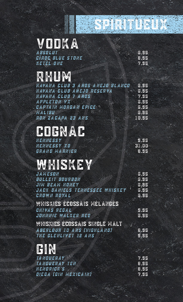 menu spiritueux